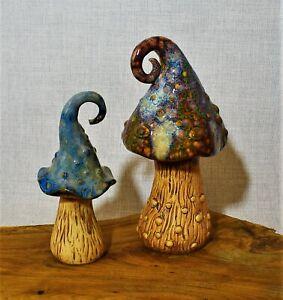 Pilze Keramik braun H 16-20 cm Pilzpaar Dekopilz Dekoration Dekofiguren