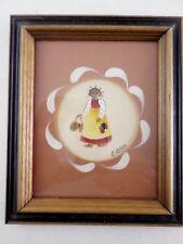 Vintage Framed Folk Art Theorem Painting By R.Ross - Little Girl w/ Braids
