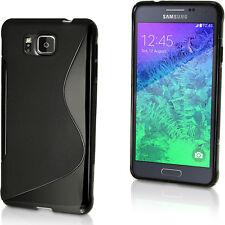 Nero S Line Gel Skin TPU Custodia per  Samsung Galaxy Alpha SM-G850 Case Cover
