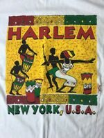 Vtg Harlem NY T-Shirt African Drums Souvenir 90's Red Green Yellow Men's Women's