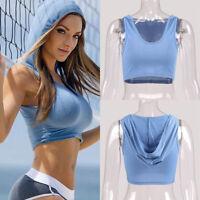 Fashion Women Girl Hooded Sport Vest Sleeveless Tank Crop Tops T-Shirt Blouse