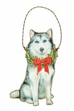"Siberian Husky dog Holiday Christmas ornament wooden 3.50"" x 5.25"" wreath"