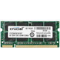 Crucial 4GB 2RX8  PC2-5300 DDR2-667MHz 200pin DDR2 SoDimm Laptop Memory RAM