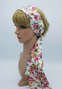 Skinny hair tie lightweight cotton head scarf pin up style hair scarf self tie