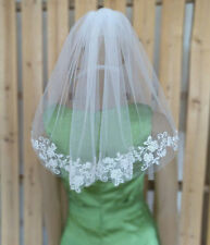 1 Layer White Ivory Applique Lace Bridal Veil Wedding Veil Short with Comb
