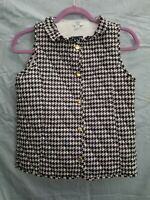 CROWN & IVY Womens Quilted Button Up Sleeveless Vest Sz L color Blk Wht checked