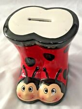 "Ceramic 4 1/2"" Red Black LADYBUG Bug Boots Piggy Bank"