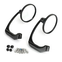 Motorcycle L-Bar Round Rear View Mirrors Cafe Racer Pair 8mm 10mm Universal BK