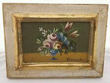 Mini Vase of Flowers Signed Oil Painting Canvas Framed Vintage