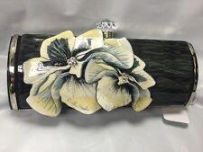 Debbie Brooks Satin Silver Clutch Bag Handbag Purse Black White Flowers New NWT