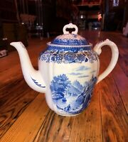 Vintage METTLACH VILLEROY & BOCH BURGENLAND TEA POT With LID GERMANY BLUE ON WH