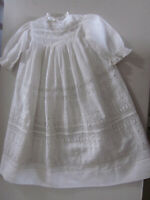 Antique White Cotton Embroidered Lace Baptism Christening Gown