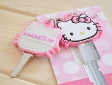 1Pcs Pink Hello Kitty Key Cap Cover Key Chain kids best birthday gifts handmade!
