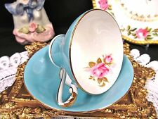 AYNSLEY TEA CUP AND SAUCER BABY BLUE & PINK ROSE PATTERN CORSET SHAPE TEACUP