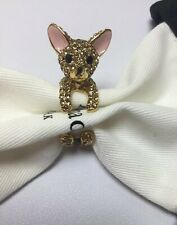 KATE SPADE Gold Plated Haute Stuff Chihuahua Dog Ring Size 7 w/ KS Dust Bag New