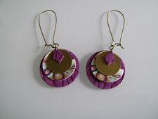 """Boucles d'Oreilles Original Violet Prune/Doré/""""or"""" cuir clip possible pas cher"""