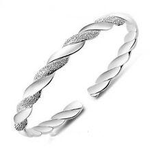 Women Elegant End Fashion Net Silver Plated Open Cuff Jewelry Bracelet Twist