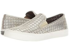 Sperry Seaside Nautical Perforated Platinum Leather Slip On Comfort Sneaker 8.5