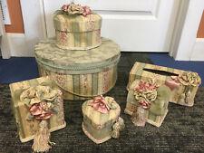 Jennifer Taylor * Victorian Green Floral Fabric Tissue Hat Box Cover Vanity Set