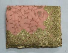 Indian Net Chikan & Stone Work Silk Blouse Saree Bollywood Sari Party Wear Dress