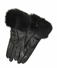 Ralph Lauren Purple Label Black Leather Fur Gloves 6.5 New $350