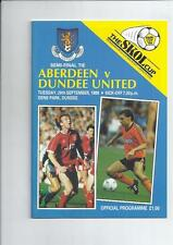 Scottish League Cup Semi Final Aberdeen v Dundee United 1988/89 Programme