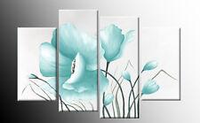 DUCK EGG BLUE FLORAL FLOWER CANVAS PICTURE WALL ART SPLIT PANEL 100cm FRAMED