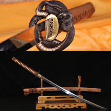 CLAY TEMPERED FULLTANG SHARP BLADE PYTHON KOSHIRAE JAPANESE SAMURAI SWORD KATANA