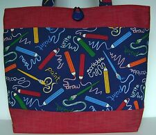 TEACHER ARTIST PENCIL BOOKBAG PURSE HANDBAG HANDMADE LAPTOP BOOK LARGE SIZE