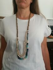 31 Bits Mercer Medley Long Necklace Blue $56 New With Tags NWT Handmade African