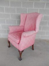 Vintage Chippendale Style Ball & Claw Footed Petite Wing Back Chair