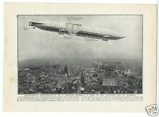 1914 WW1 Print ANTWERP Zeppelin Dropping Bomb on City SECTIONAL DIAGRAm (315)