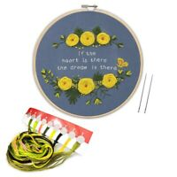 Embroidery Starter Kit with Embroidery Cloth,Bamboo Embroidery Hoop, Color  O7F9
