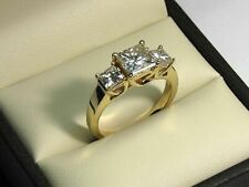 2.05 Ct Princess Cut 3 Stone Diamond Engagement Ring 14K Yellow Gold FN