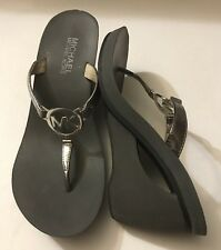 michael kors wedge sandals Silver Gray Thong Slip On Sandals Size 8