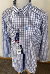 NEW Stafford Men Sz Big 19 34-35 Travel Performance Super Shirt Blue Brown Plaid