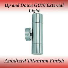 2 Light up and Down Ip65 Gu10 External Wall Light in Anodized Aluminum