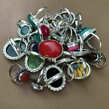 Gemstone 925 Silver Plated Rings Hl-11-011 Wholesale Lot 50 Pcs Multi Color