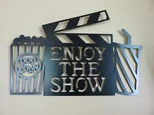 METAL MOVIE THEATER WALL ART ENJOY THE SHOW HOME THEATRE DECOR RETRO POPCORN POP