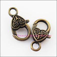 6Pcs Antiqued Bronze Lovely Heart Bracelet Lobster Clasp Connectors 14x25.5mm