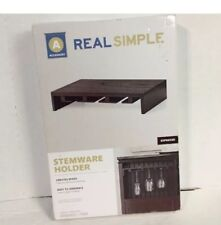 Real Simple 24  Bottle Wooden Espresso Wine And Glass Stemware Rack Holder