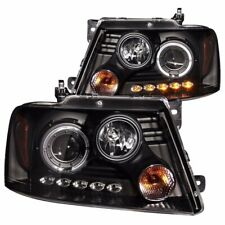 Aftermarket Headlight Pair L+R (Black Housing/Halo) For 2004-2008 Ford F-150