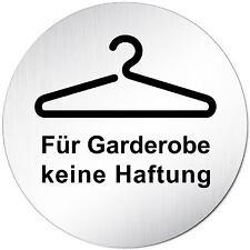"""Aluminium Schild 10 cm Ø """"Für Garderobe keine Haftung"""" Tür • Alu • Türschild"""
