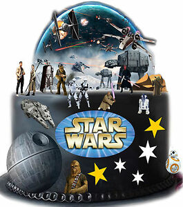 Star Wars Stand Up Cake Scene Edible Premium Rice Wafer Paper Stars Cake Toppers