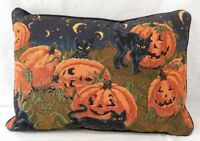 Vintage Throw Pillow Halloween Black Cats in JOL Pumpkin Patch 1980s