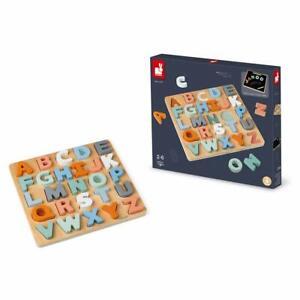 JANOD Alphabet Puzzle Jouet en Bois Double Face Tableau Noir Adapté 2-6 Ans