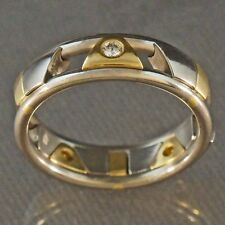 Christian Bauer Two Tone Solid 18K Gold & Diamond Sliding Panel Band Estate Ring