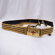 Masonic Knight Templar Sword belt Gold Wire Braided and Gold Plated  Metal Parts