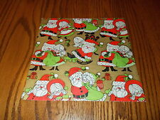 VTG CHRISTMAS WRAPPING PAPER GIFT WRAP MCM MR & MRS SANTA CLAUS ON GOLD