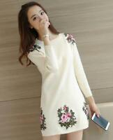 Womens Embroidery Floral Round Neck Pullover Long Blouses Fashion Tops NEW E993